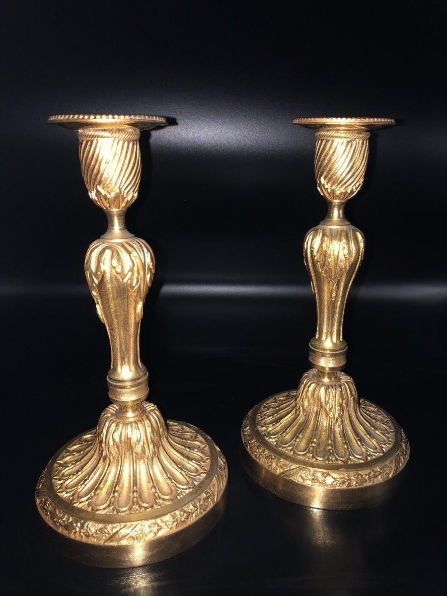 Paire de  bougeoirs en bronze  doré ,XIXème  Siècle -photo-2