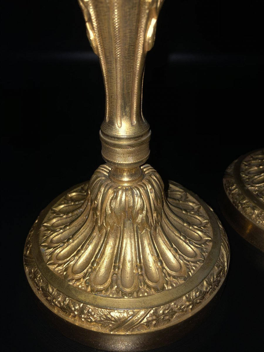 Paire de  bougeoirs en bronze  doré ,XIXème  Siècle -photo-1