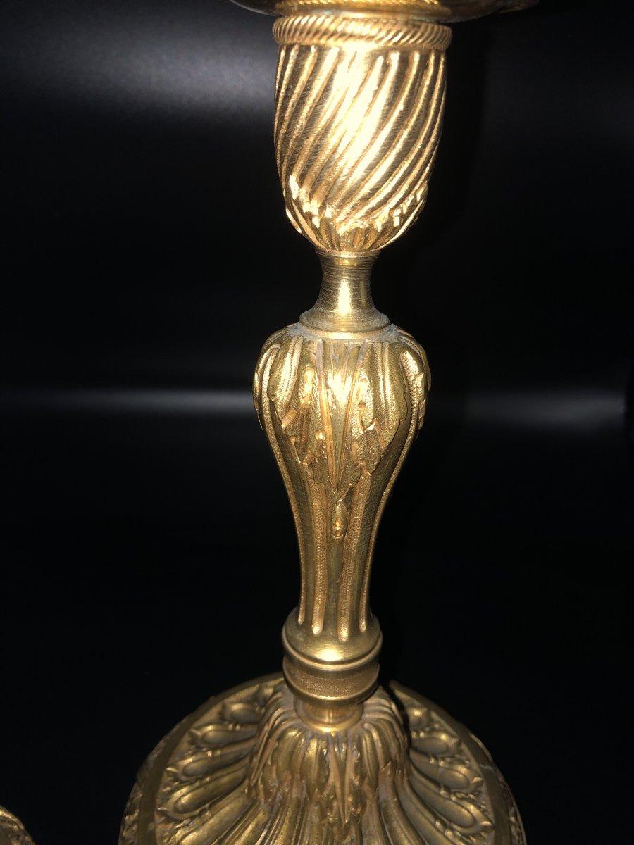 Paire de  bougeoirs en bronze  doré ,XIXème  Siècle -photo-3