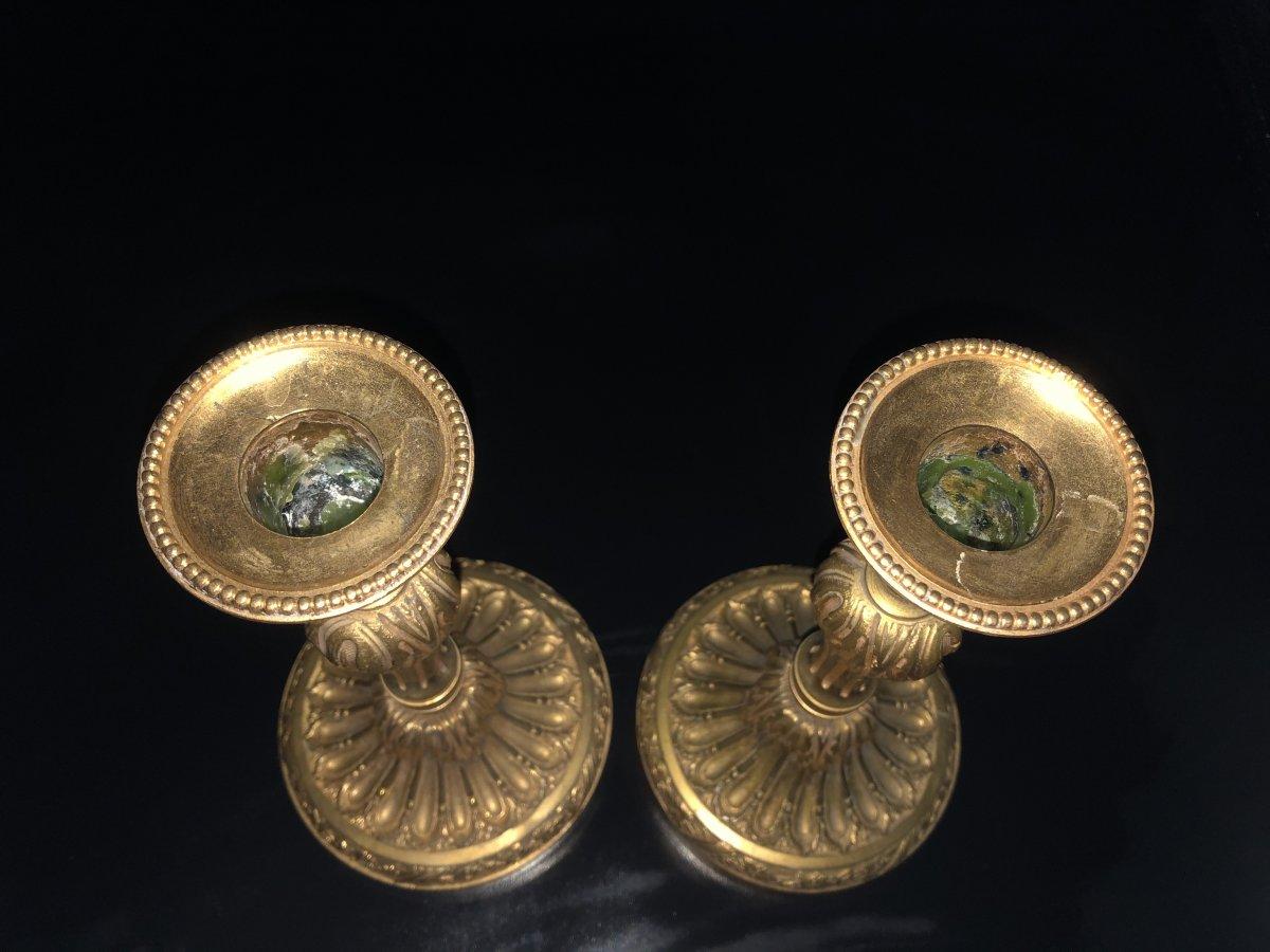 Paire de  bougeoirs en bronze  doré ,XIXème  Siècle -photo-4