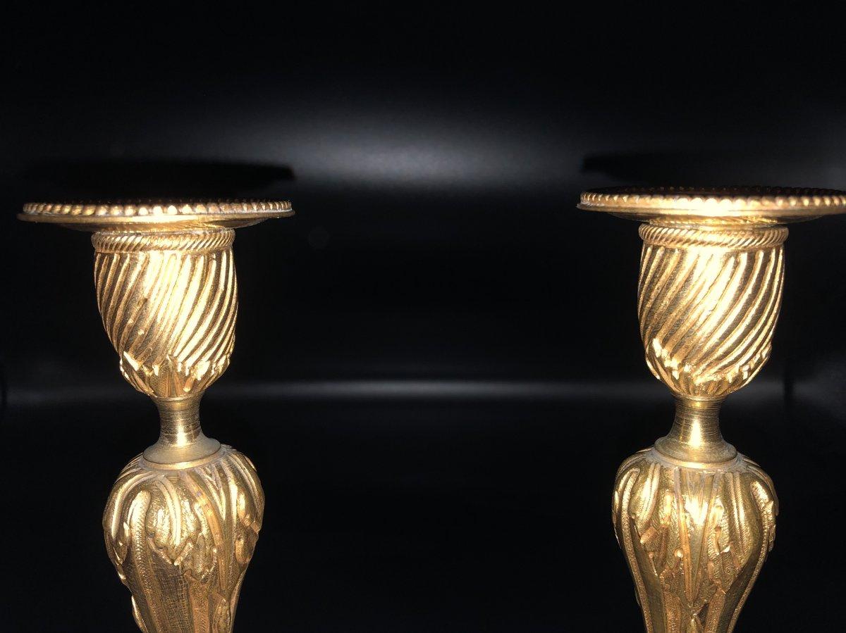 Paire de  bougeoirs en bronze  doré ,XIXème  Siècle -photo-5