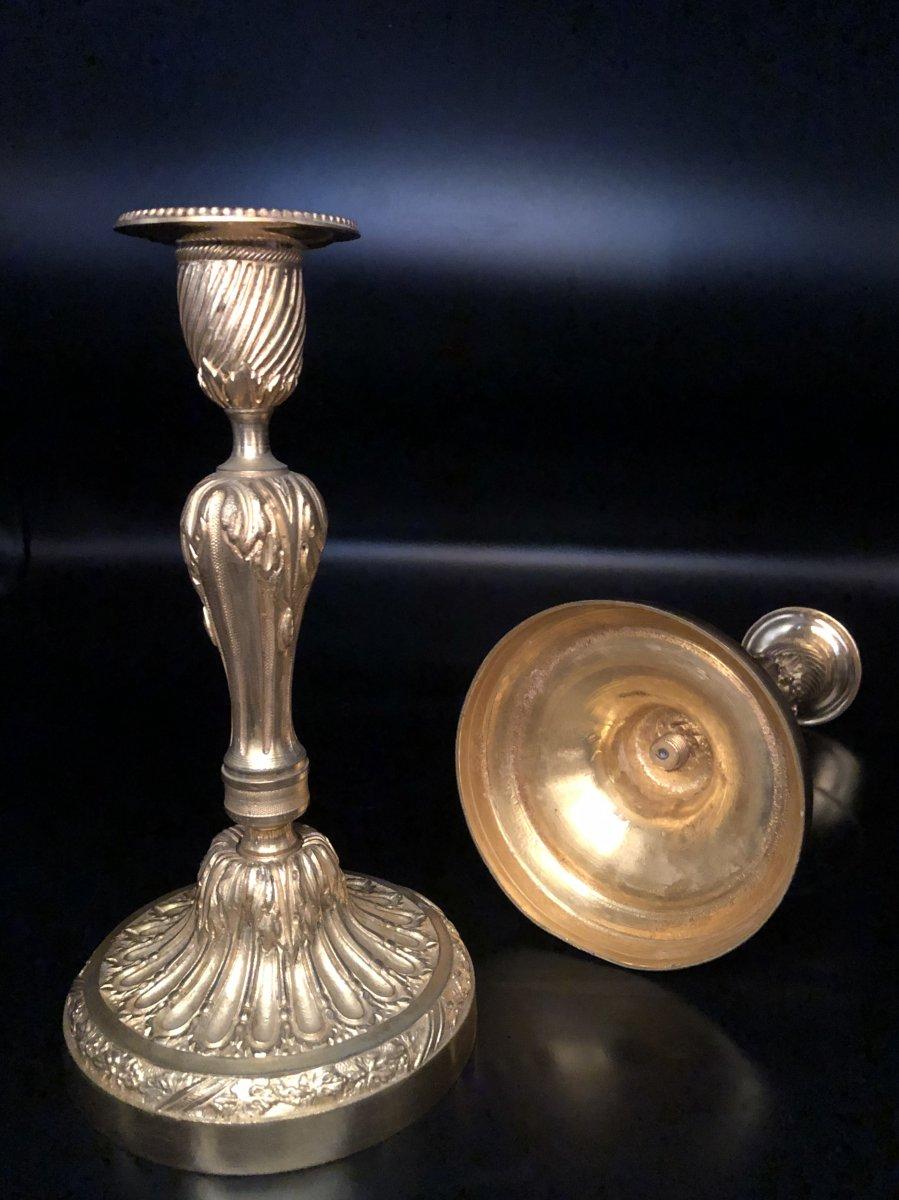 Paire de  bougeoirs en bronze  doré ,XIXème  Siècle -photo-6