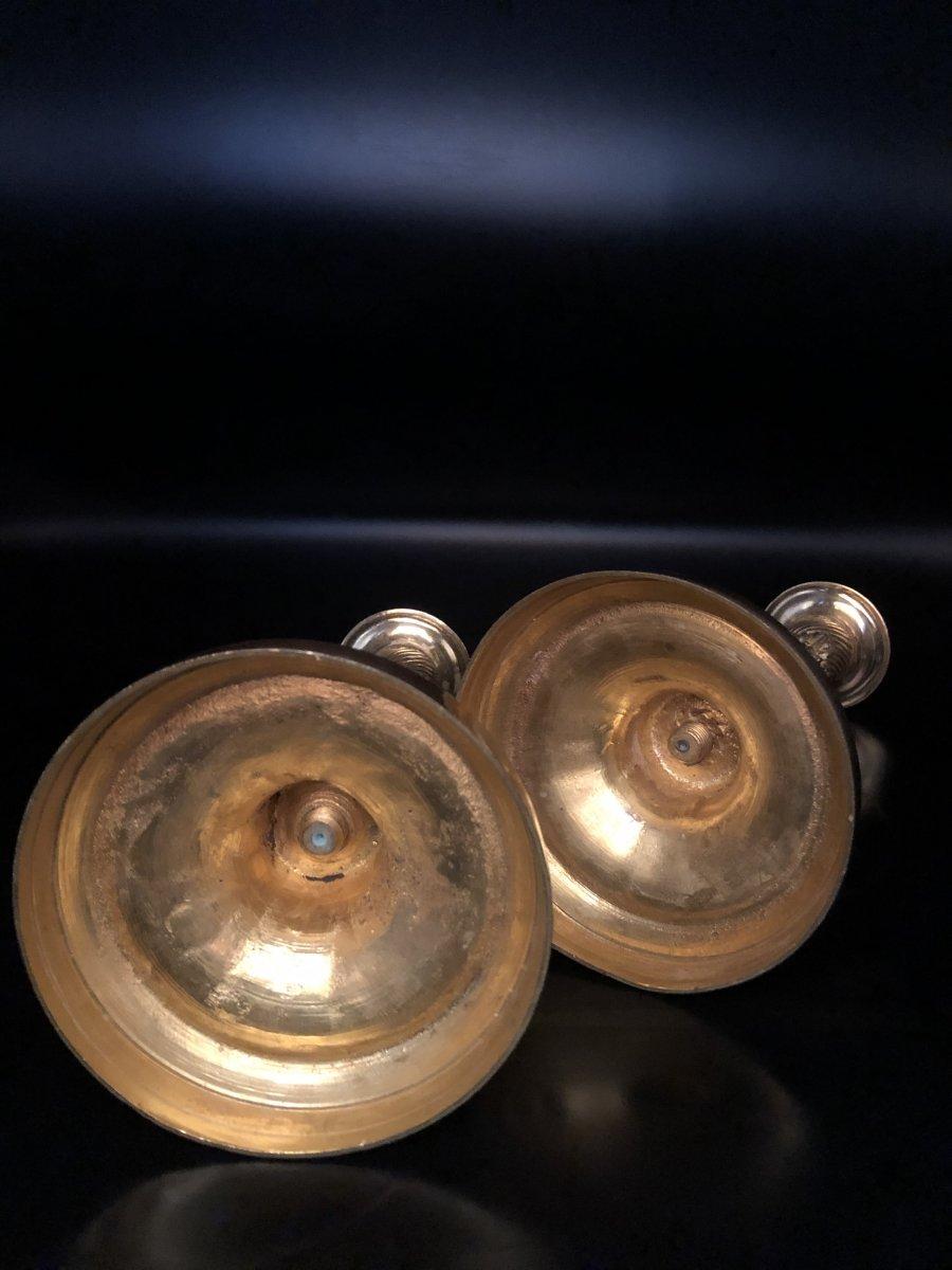Paire de  bougeoirs en bronze  doré ,XIXème  Siècle -photo-7