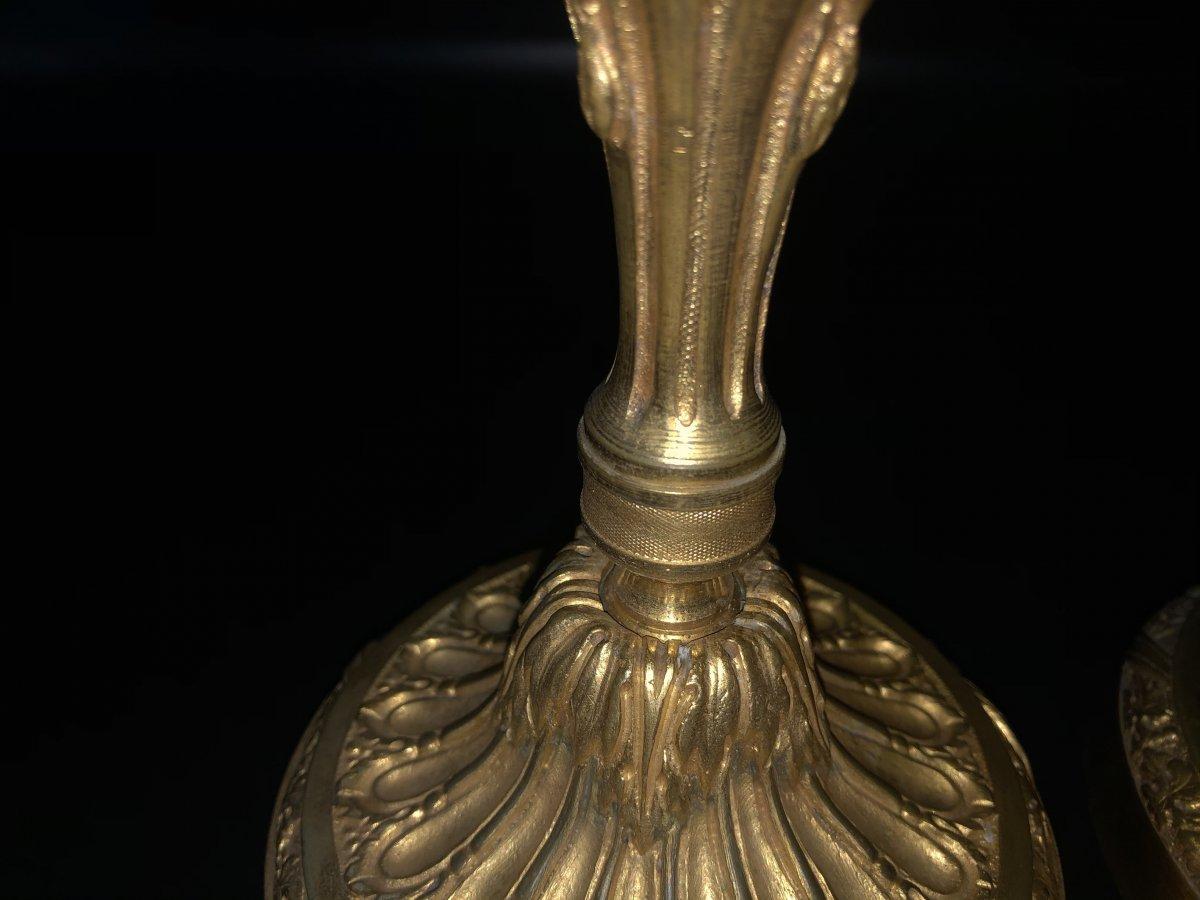 Paire de  bougeoirs en bronze  doré ,XIXème  Siècle -photo-8