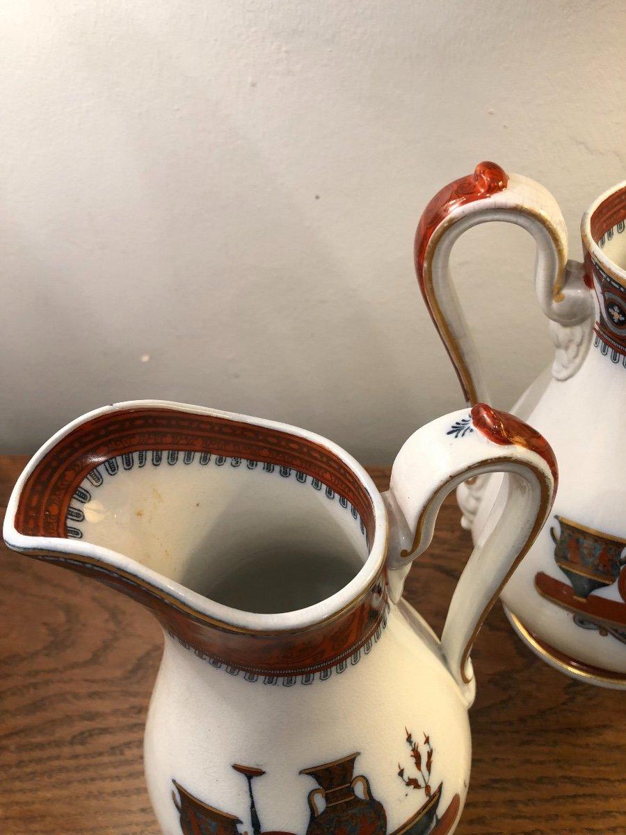 Paire de Pichets,Staffordshire,porcelaine, XIXème Siècle -photo-1