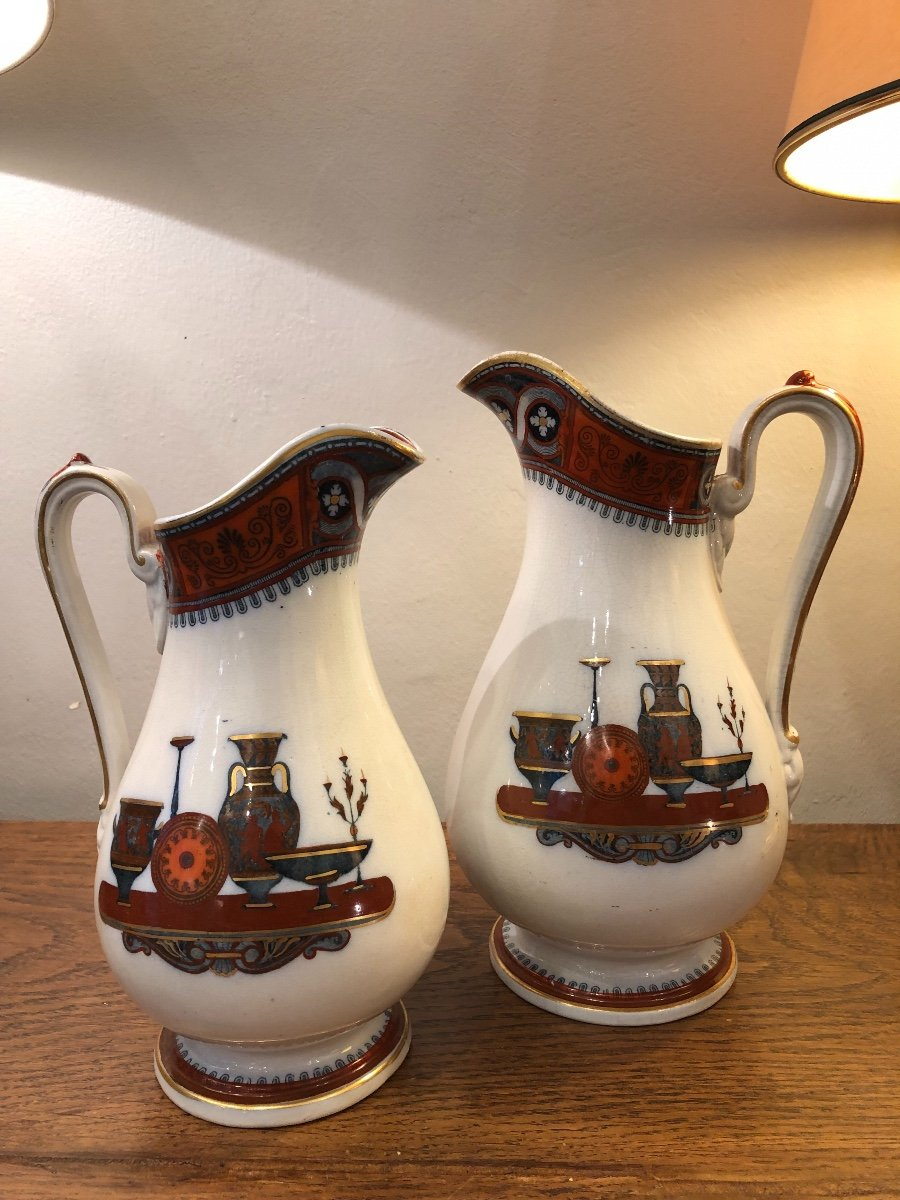 Paire de Pichets,Staffordshire,porcelaine, XIXème Siècle -photo-4