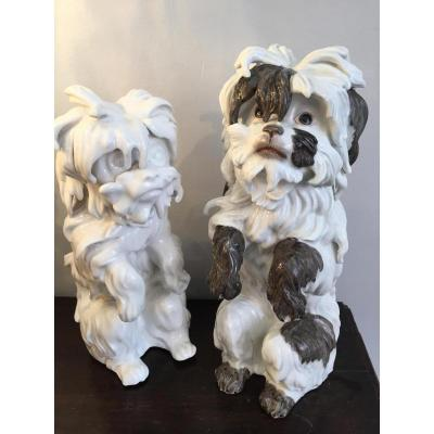 Pair Of Porcelain Dogs Early XIX