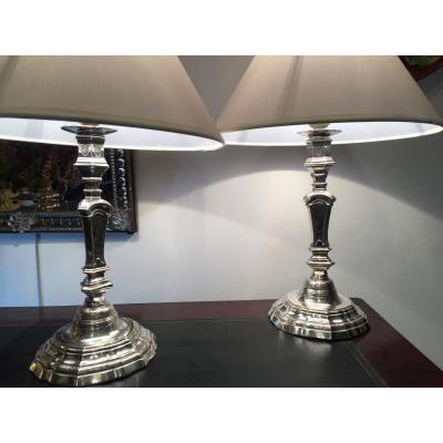 Pair Of Candlesticks, Silver Bronze, Lamp, XVIII