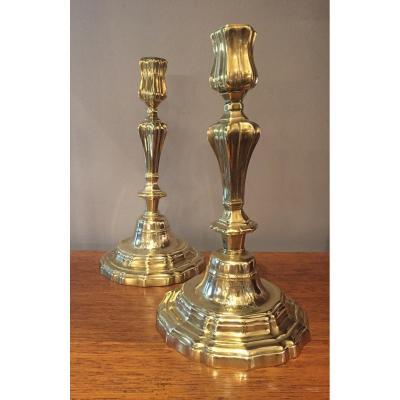 Paire De Bougeoirs ,bronze,LouisXIV