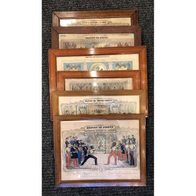 Série De 6 Gravures,brevet Sportif,XIX ème Siècle