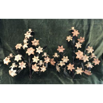 Pair Of Iron And Brass Appliques, Flowers, Nineteenth Century