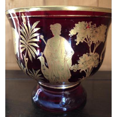Coupe Murano,rouge Et Or,XIXème Siècle