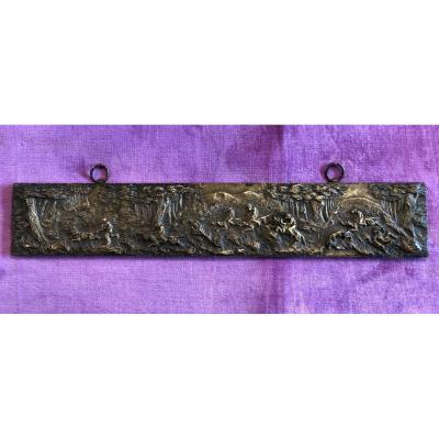Plaque En Bronze,course De Singes,XIXème Siècle
