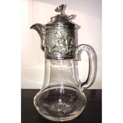 Carafe Cristal Et Argent,Art Nouveau,XXème Siècle