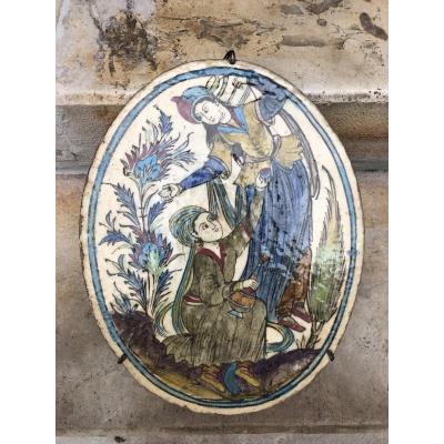Plaque en céramique,Iran, XIXème  Siècle