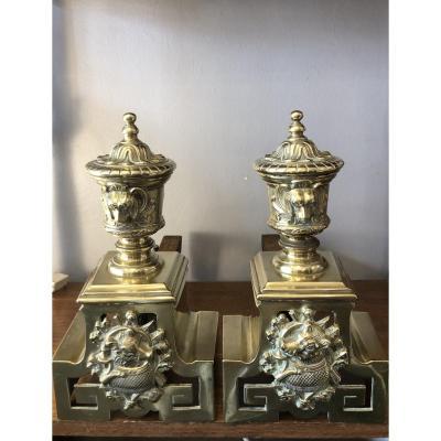Paire de chenets,bronze,XIXème Siècle
