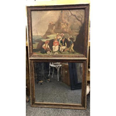 Miroir,Trumeau,scène de pêcheurs,XIXème  Siècle