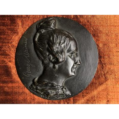 Medallion, Sculpture, David d'Angers, Miss George, 19th Century