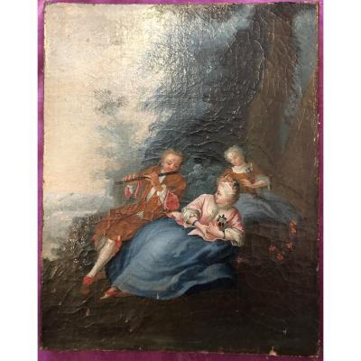 Tableau,huile sur Toile,scène Champêtre,XIXème Siècle