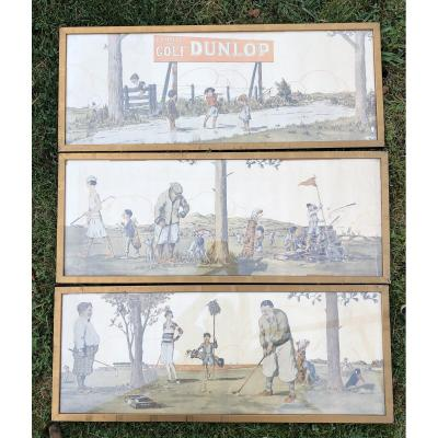 Dunlop Advertising Posters, Golf, Around 1920