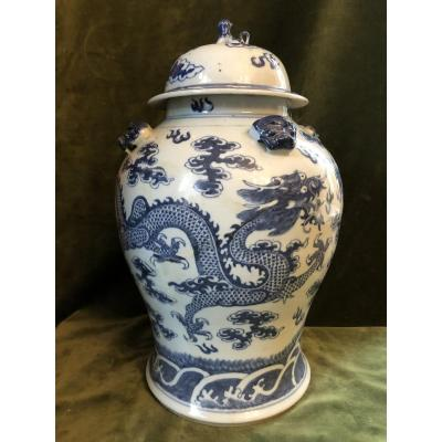 Chinese Covered Pot, Earthenware, Blue And White,  XIXth Century