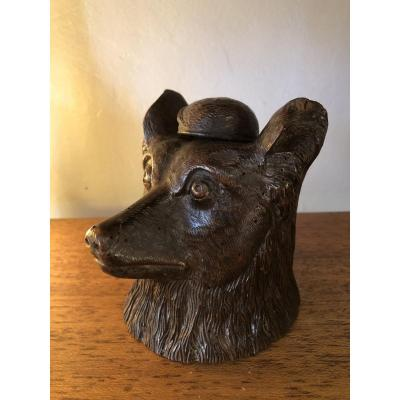 Inkwell, Wood Dog Head, XIXth Century