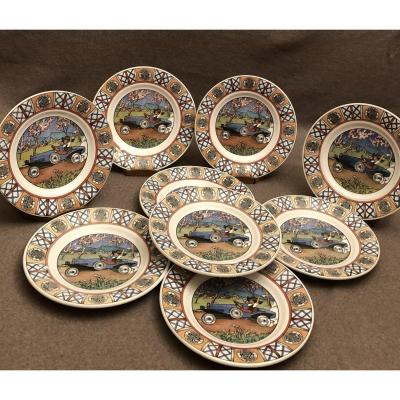 Series Of 9 Earthenware Plates From Sarreguemines, Mathis Strasbourg Cars, Early Twentieth