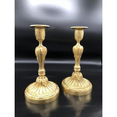 Paire de  bougeoirs en bronze  doré ,XIXème  Siècle