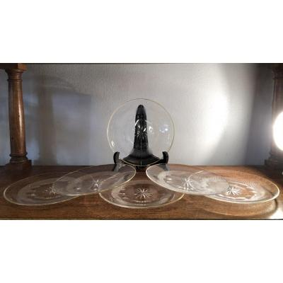 Series Of 6 Bread Plates, Cut Crystal, Early 20th Century
