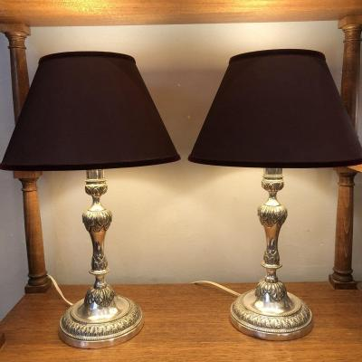 Pair Of Lamps, Candlesticks, Plated Metal, XVIIIth Century