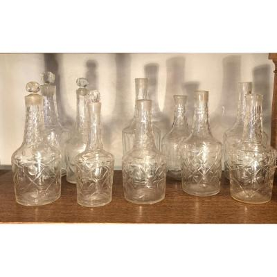 Series Of 10 Carafes Cut Crystal Of The XVIIIth Century