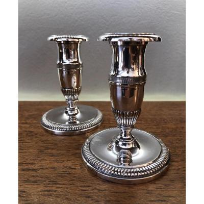 Paire de Bougeoirs de Toilette,bronze Argenté,XIXeme