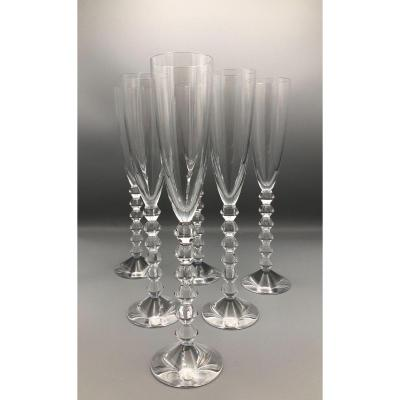 Series Of 6 Champagne Flutes, Vega, Baccarat, 20th Century
