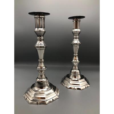 Paire de Bougeoirs,métal Plaqué,XVIIIème Siècle