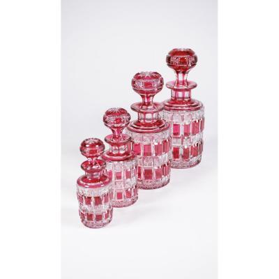 Flacons De Toilette Cristal Baccarat Rouges Taille Riche