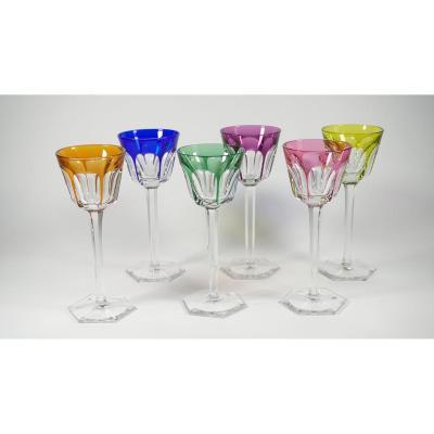 Série De 6 Verres à Vin Du Rhin (roëmer) Cristal Baccarat Modèle Harcourt
