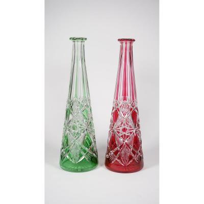 Carafes Cristal Baccarat Modèle Lagny Rouge Et Verte