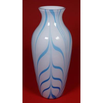 Saint Louis Overlay Vase Combed Blue