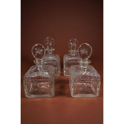 4 Old Glass Decanters