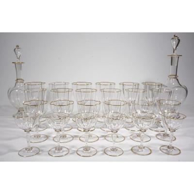 Bohemian Crystal Glasses And Decanter Service J. & L. Lobmeyr Wien