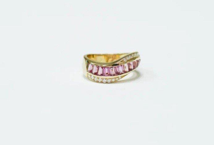 Bague  Or Jaune Diamant & Tourmaline