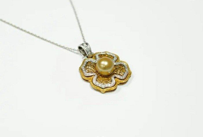 Pendentif Or Blanc & Or Jaune Avec Diamant Et Une Perle d'Or