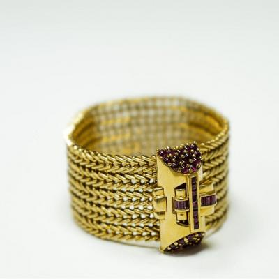 Bracelet 18 Ct. Or Jaune & Ruby
