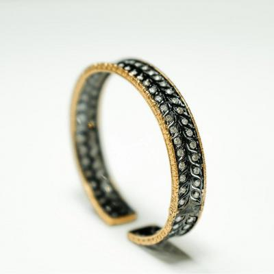 Bracelet 18ct. Or Rose - Émail Noir
