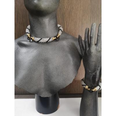 Colier &  Bracelet (cristal De Roche Dore & Onyx Noir)