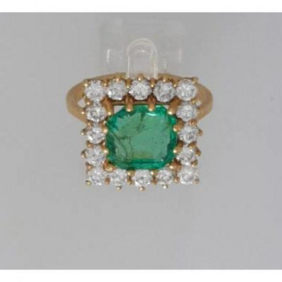 Ring Yellow Gold Emerald & Diamond