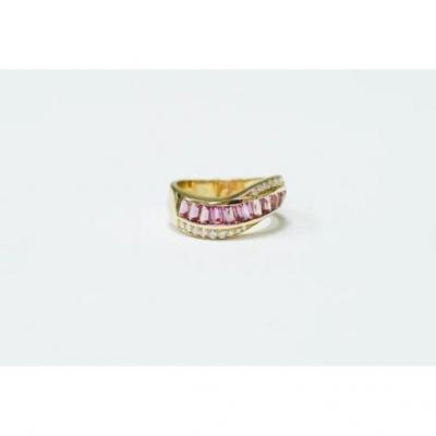 Yellow Gold Diamond & Tourmaline Ring