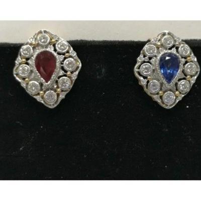Boucle d'Oreille  Or Blanc  Diamant Saphir & Rubis