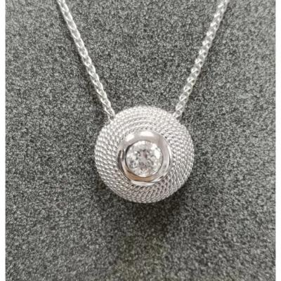 18ct Pendant. White Gold & Diamond