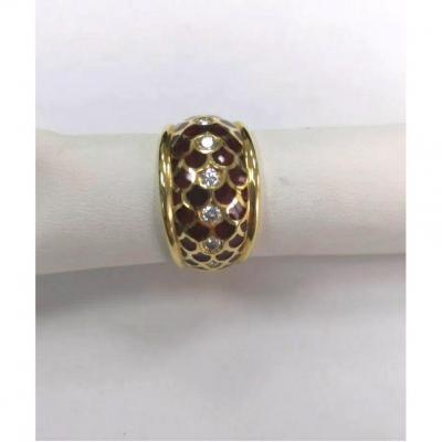 Bague 18 Ct.  Diamants Or Jaune & émail